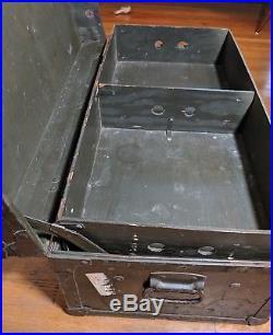 1949 Vintage US ARMY Military Foot Locker Trunk w Insert Korean War Post WWII