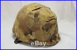 1950's Korean War USMC M1 Helmet with Cloud Pattern CAMO Cover Collectible