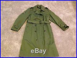 1950's US ARMY Issue Korean War Era Trench Coat w Specialist Insignia Regular