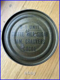 1950s B-1 unit ration Korea Korean War Crackers Cocoa Jam Coffee Sugar Milk