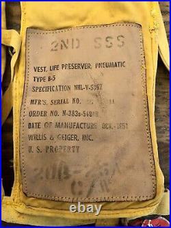 1950s US Air Force Pilots Type B-5 Life Preserver Vest Korean War USAF 03/14