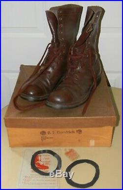 1951 Korean War Cap Toe Combat Jump Boots Brown Size 9 D In Box Bf Goodrich Nice