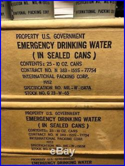 1952 Korean War Emergency Water Full Factory Sealed Box Of 25 (10oz) Cans