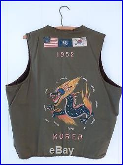 1952 Korean War Trench Art Alpaca Lined Deck Vest US Army Painted Jacket Medic