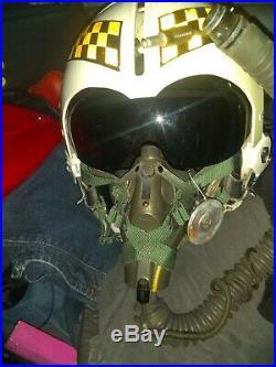 1959 korean war era fighter pilot helmet withhigh altitude oxygen mask faceshield
