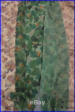 2 Korean War USMC Mitchell Reversible Camo Tent Shelter Halves W Stakes Marine