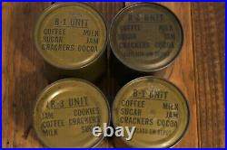 4 -1951 B unit rations Korean War Crackers Jam Coffee Sugar Milk Cookie 50's