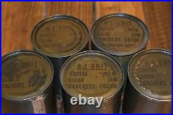 5 -1951 B unit rations Korean War Crackers Jam Coffee Sugar Milk Cookie 50's
