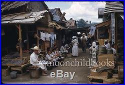 5 vintage 1952 KOREAN WAR street market photo slide lot CHUNCHON KOREA 1950s