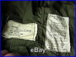 50s 60s Vintage US Army Military Korean War Era M51 OG107 Sateen Fishtail Parka