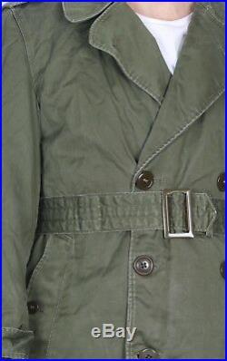 50s M-1950A Military Overcoat Small Short 36 38 Green Liner Korean War K1N
