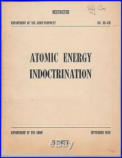Atomic Energy Indoctrination Vintage Korean War Restricted Nuclear Military Book