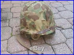 Authentic USMC Korean War issued Helmet Cover 1953 & Helmet
