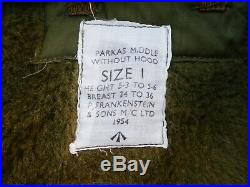 BRITISH ARMY MIDDLE PARKA Korean War Parkas Middle Without Hood 1954