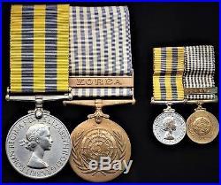 British Medals KOREAN WAR Medal pair & miniatures Cpl WRIGHT Middlesex Regiment