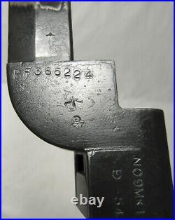 British No 9 Mk I Lee Enfield Bowie Knife Bayonet Scabbard Rare PF ROF Fazakerly