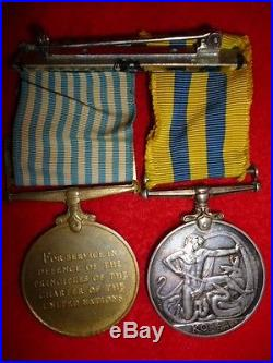 Canadian Korean War Medal Pair of (2) Medals Cartmill, unresearched, from Quebec