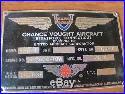 Chance Vought F4U-4 Corsair Main Data Plate ID Tag WW2 WWII Korean War Aircraft