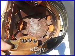 Early P Flight helmet Single Visor Silver Paint Ear Pieces 1950s korean War