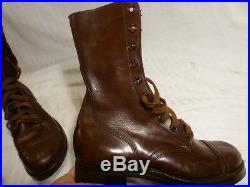 Endicott Johnson 1950's Brown Leather Combat Men's Boots 7.5 D, Korean War