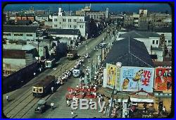 Fabulous Korea Korean War Street Scene Trolley Signs Bus 35mm Kodachrome Slide