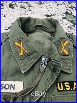 Field Jacket M51 Sateen OG 107 Vintage 1950s Vtg Korean War Patch 50s 1956