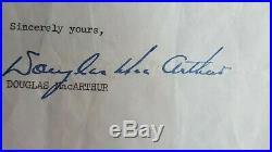 General Douglas MacArthur Rare Condolence Military Korean War Collection COA