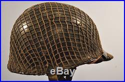 Genuine Early Korean War Us M1c Airborne Paratroopers Helmet 100% Complete