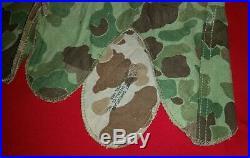 Genuine Korean War Usmc Hbt Camo M1 Helmet Cover Frog Skin No Helmet