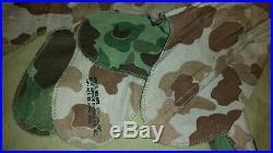 Genuine Usmc Wwii/korean War M-1 Helmet, Liner And Hbt Camo Cover