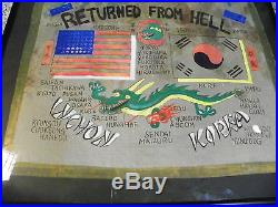 Great Hand Painted on Silk Korean War Blood Chit HUGE & GREAT Framed
