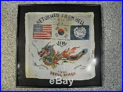 Great Korean War Silk Blood Chit HUGE & GREAT Framed & Ready for Display