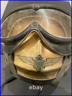 IDed Navy H-4 Flight Helmet Size Medium with Liner & comm, Gentex, Korean War