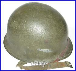 Identified WWII Fixed Bale M1 helmet Korean War 2nd Infantry Division 6th Army