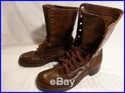 International Shoe Co. 1951's Brown Leather Combat Men's Boots 7.5 D, Korean war