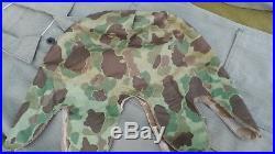 KOREAN WAR USMC Frogskin Camouflage HBT CAMO HELMET COVER With EGA ANCHOR