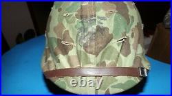 KOREAN WAR USMC MARINE CORPS Fixed Bale M1 HELMET W / LINER-ORIGINAL