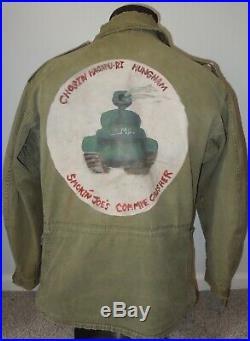 KOREAN WAR USMC Marine PAINTED M51 Jacket SMOKIN JOES COMMIE CRUSHER Tank