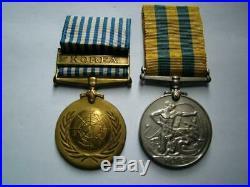Korea 1950 1953 British & UN Korean War medal pair Pte Calderwood RAMC