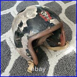 Korean War 1950s USAF Air Force P-1B Flight Helmet Black Hand painted Skull