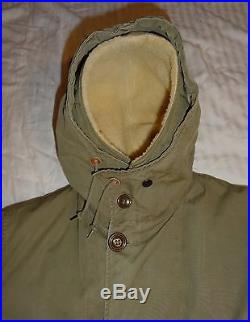 Korean War 1951 Military Overcoat Parka Type Pile Liner Cold Weather Sz Small