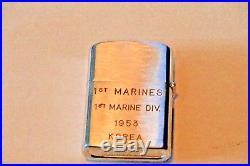 Korean War 1953 Rare Usmc 1st Marines 1st Division Clearcut Lighter-excel. Shape