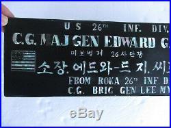 Korean War 26th Yankee Division Major General Sirois Desk Plate ROKA Gift Korea
