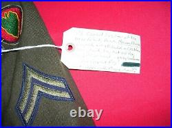 Korean War 3rd Combat Engineer 24th Division Uniform Cap Dog Tags Framed Display