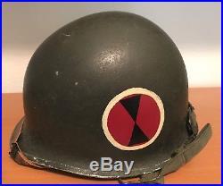 Korean War 7th Infantry Division M1 Painted Helmet