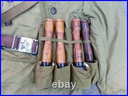 Korean War Chinese Communist Winter Uniform Hat bandoleer belt PVA Nork KPA cap