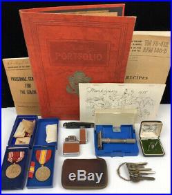 Korean War Era Medals, Stationary, Books, Knife, Lighter, Razor, Key Wallet, Pin