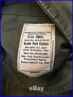 Korean War Era Overcoat Parka Type MIL-O-1952 Small