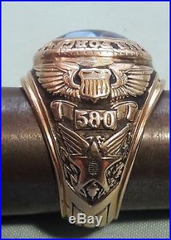 Korean War Era U. S. A. Air Force 580th Air Resupply 10k Pilot's Ring Engraved DOR