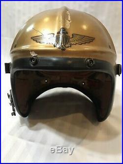 Korean War Era US Navy Pilot Helmet Gentexite Large Gold Lieutenant Named